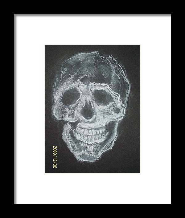 Skulls Framed Print featuring the drawing First Skull Work by Nancy Caccioppo