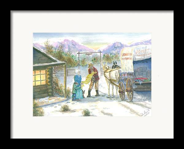 Pioneer Shopping Framed Print featuring the painting First Snow - Last Call by Dan Bozich