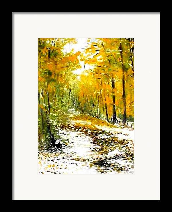 Landscape Framed Print featuring the painting First Snow by Boris Garibyan