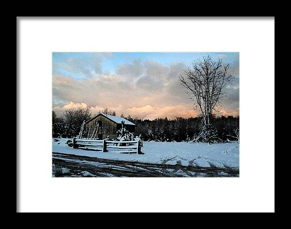 Landscapes Framed Print featuring the photograph First Snow by Linda Joyce Ott