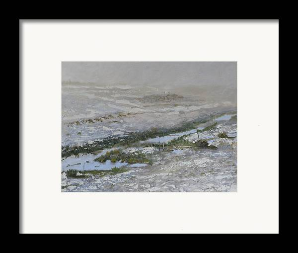 Atmospheric Ditch Fence Field Fog Gray Mist Montana Moody Nature Sbudued Snow Spindrift Storm Tonali Framed Print featuring the painting First Snow by Robert Bissett