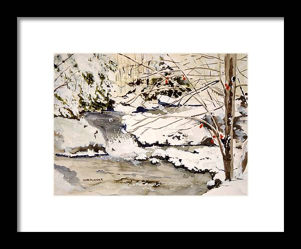 Winter Scene Framed Print featuring the painting First Snowfall by Jean Blackmer
