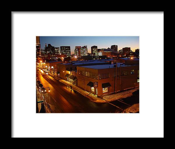 Night Framed Print featuring the photograph First Street by Eric Workman