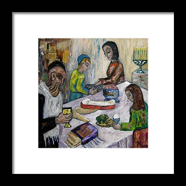 Biblical Framed Print featuring the painting First Supper by Maria Alquilar