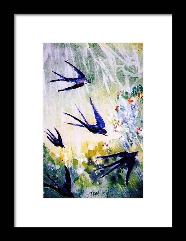 First Swallows Framed Print featuring the painting First Swallows Of Summer by Trudi Doyle