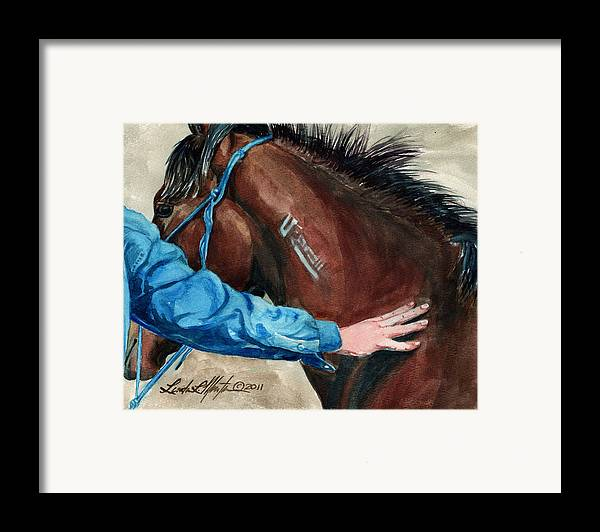 Mustang Makeover Framed Print featuring the painting First Touch by Linda L Martin
