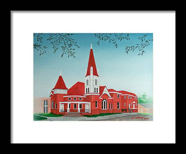 Church Framed Print featuring the painting First United Methodist Church Terrell Tx by Darren Yarborough