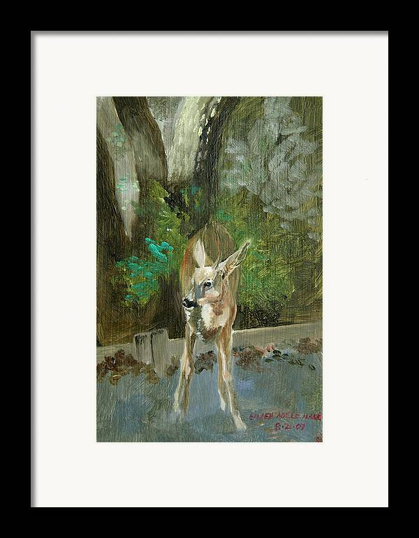 Deer Framed Print featuring the painting First Young Buck Pad by Eileen Hale