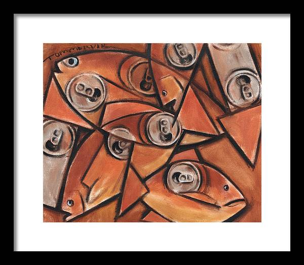 Fish Framed Print featuring the painting Tommervik Fish and Cans Art print by Tommervik