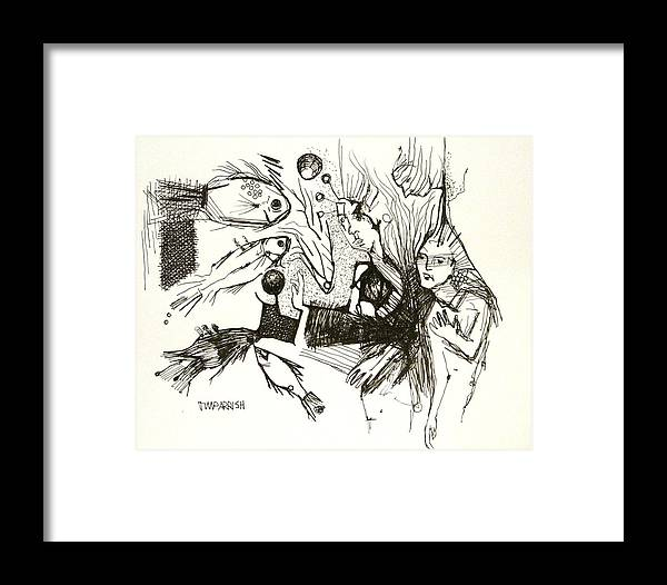 Ink Art Framed Print featuring the drawing Fish Are Coming To The Rescue by Tim Parrish