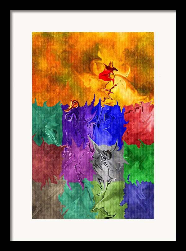 Abstract Framed Print featuring the digital art Fish Are Jumping by Tom Romeo