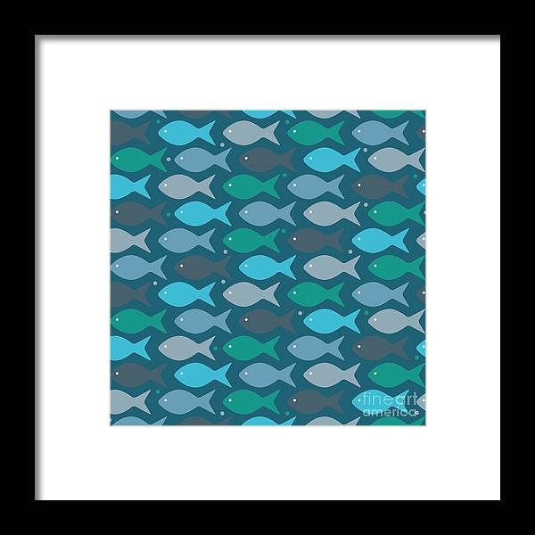 Dolphins Framed Print featuring the digital art Fish Blue by Mark Ashkenazi