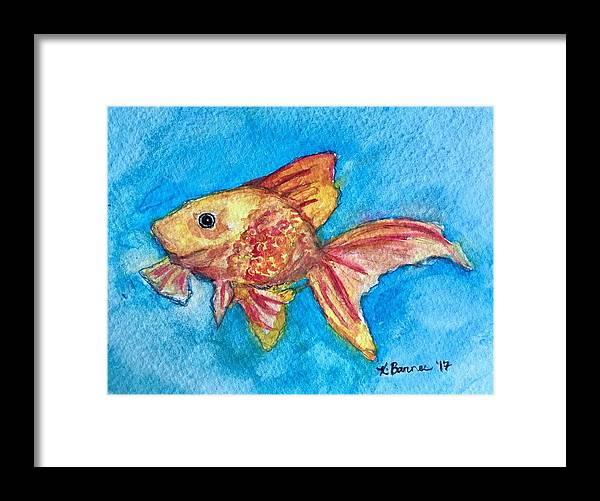 Goldfish Framed Print featuring the painting Fish Bowl by Katie Barnes