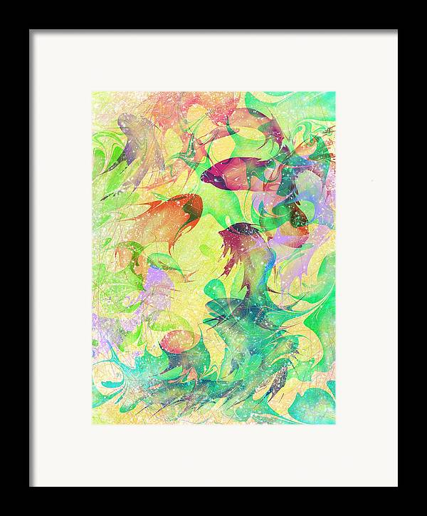 Abstract Framed Print featuring the digital art Fish Dreams by Rachel Christine Nowicki