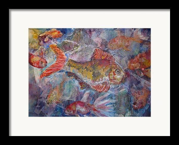 Fish Framed Print featuring the mixed media Fish Fantasy by Joyce Kanyuk