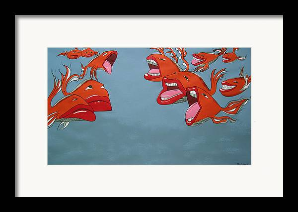 Seascape Framed Print featuring the painting Fish Fight by Patricia Van Lubeck