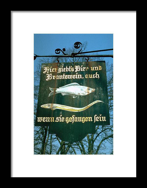 Store Sign Framed Print featuring the photograph Fish by Flavia Westerwelle