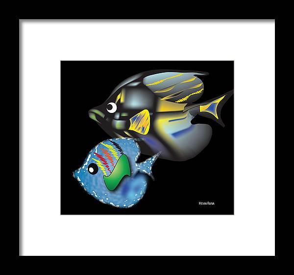 Fishes Framed Print featuring the digital art Fish Illustration by Hema Rana