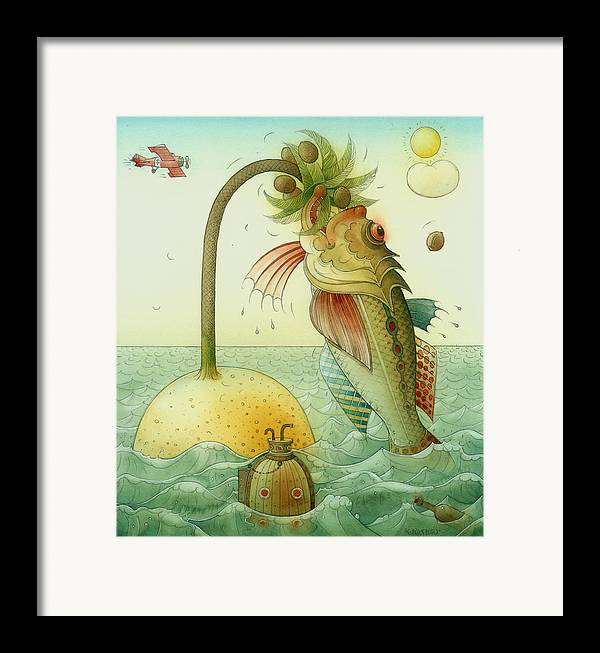 Fish Sea Landscape Framed Print featuring the painting Fish by Kestutis Kasparavicius