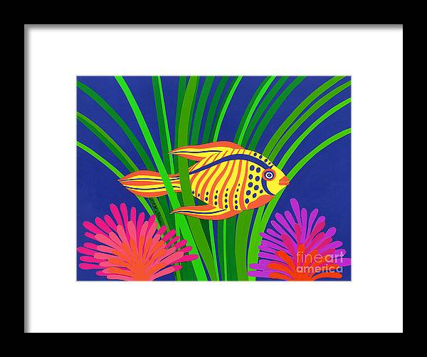 Nature Framed Print featuring the drawing Fish by Lucyna A M Green