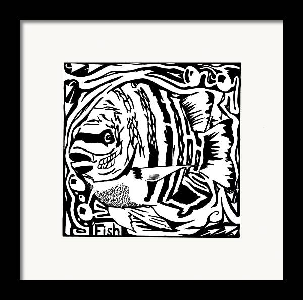 Fish Framed Print featuring the drawing Fish Maze by Yonatan Frimer Maze Artist