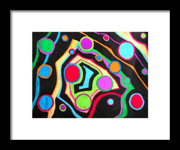 Abstract Framed Print featuring the drawing Fish Out Of Water by Katina Cote