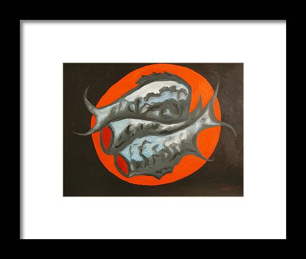Still-life Framed Print featuring the painting Fish Platter by Angelo Thomas