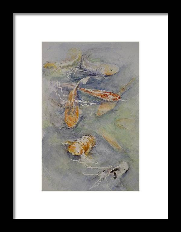 Fish Framed Print featuring the painting Fish Pond by Lizzy Forrester