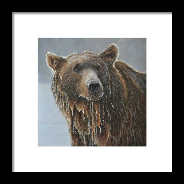 Grizzly Bear Framed Print featuring the painting Fish Story-Up for Air by Tahirih Goffic