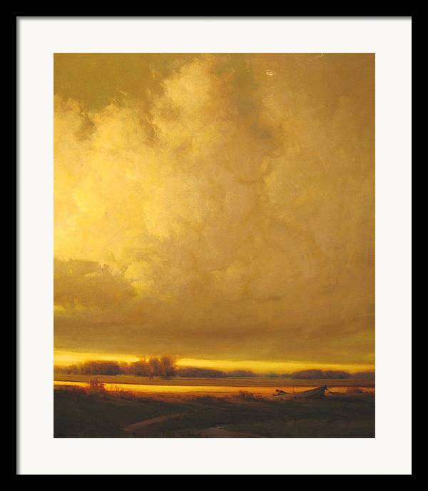 Landscape Framed Print featuring the painting Fished Out by Martin Poole