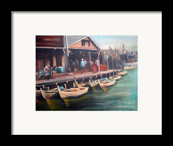 Landscape Framed Print featuring the painting Fisher Village by Edy Sutowo