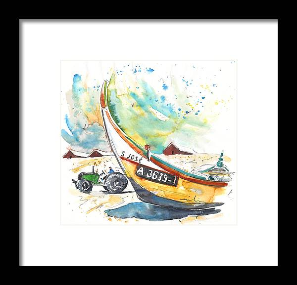 Portugal Framed Print featuring the painting Fisherboat in Praia de Mira by Miki De Goodaboom