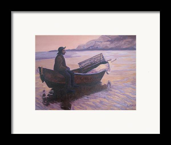 Landscape/ Portrait Framed Print featuring the painting Fisherman At Good Harbor Beach Gloucester Circa 1880 by Laura Roberts