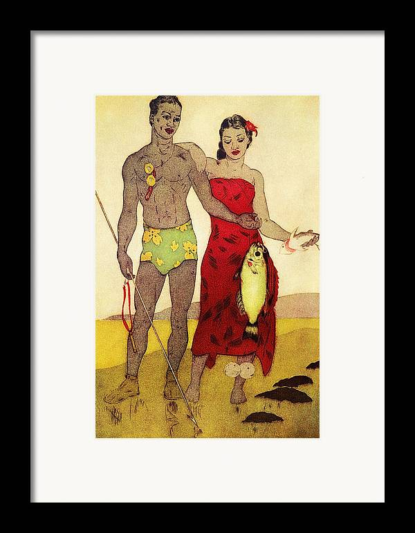 70-pfs0039 Framed Print featuring the painting Fisherman by Hawaiian Legacy Archives - Printscapes
