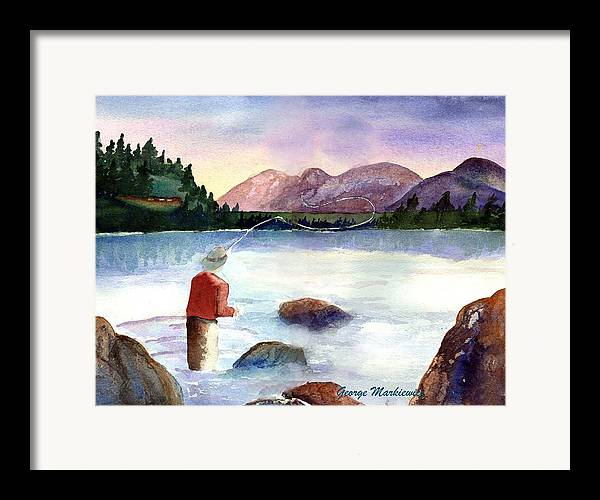 Fisherman At Lake Framed Print featuring the print Fisherman In The Morning by George Markiewicz