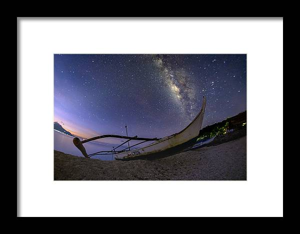 Landscape Framed Print featuring the photograph Fisherman's Boat At Dawn by PJ Ibasco