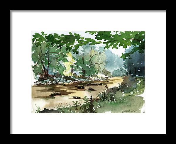 Fly Fishing Stream Framed Print featuring the painting Fisherman's Paradise by Jeff Mathison