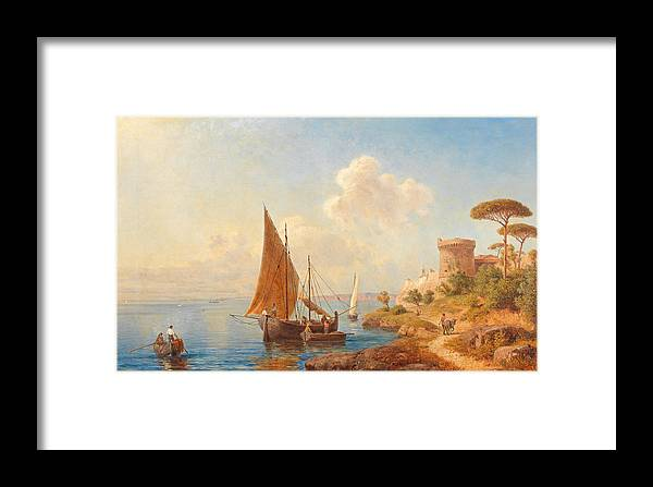Gottfried Seelos Framed Print featuring the painting Fishermen On The Dalmatian Coast by Gottfried Seelos