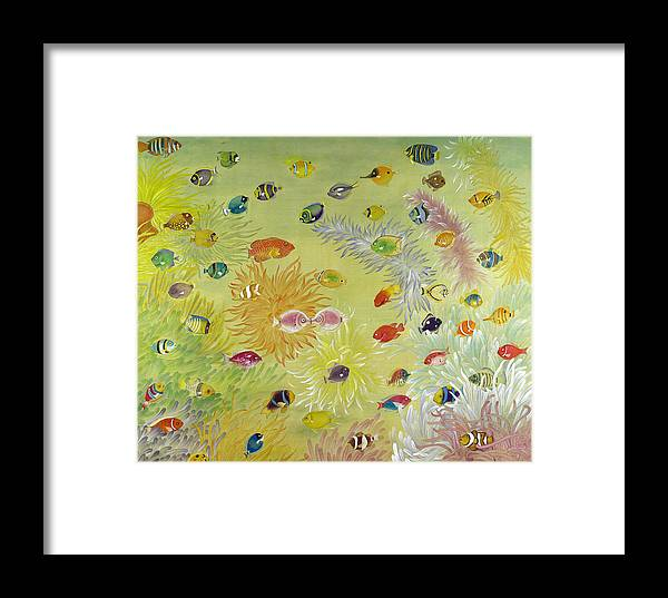 Fish Framed Print featuring the painting Fishes And Coral by Ying Wong