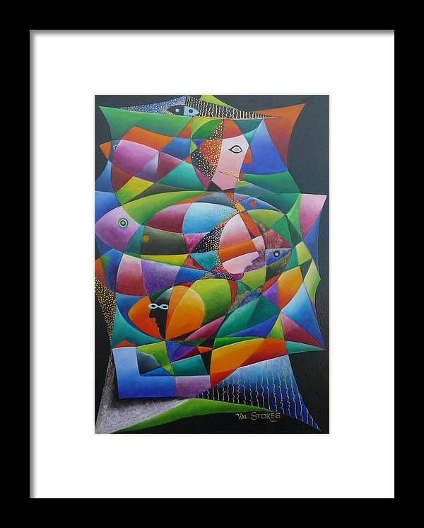 Faces Framed Print featuring the painting Fishes And Faces by Val Stokes