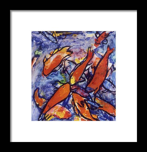 Brightly Colored Orange Fish Against Transparant Washes Of Blue Framed Print featuring the painting Fishes by Nina Talbot