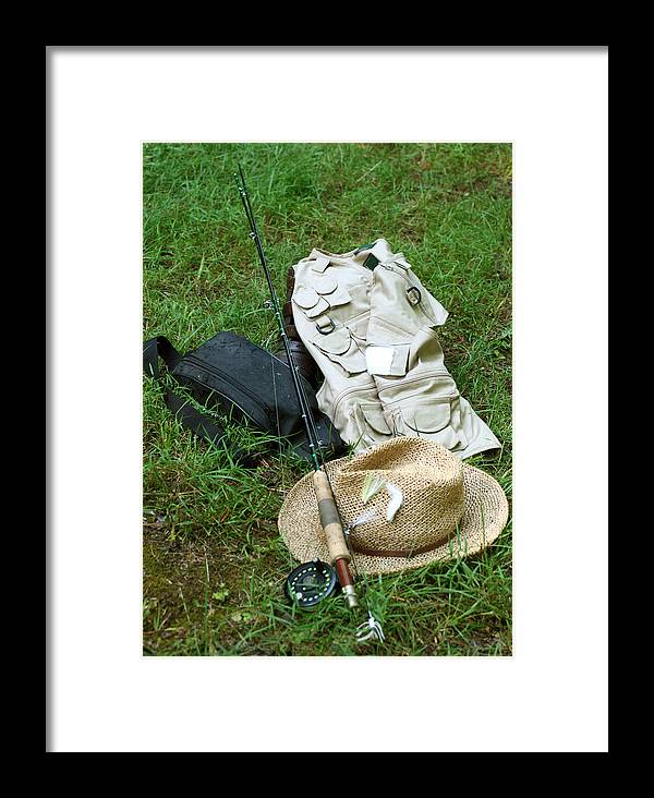 Straw Hat Framed Print featuring the photograph Fishin' Gear by Linda A Waterhouse