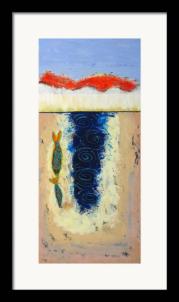 Fish Framed Print featuring the painting Fishing by Aliza Souleyeva-Alexander