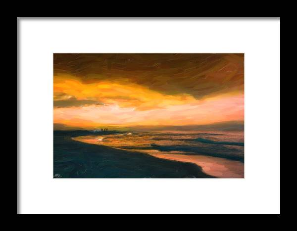 Fishing At Dusk Framed Print featuring the painting Fishing At Dusk by Adam Asar