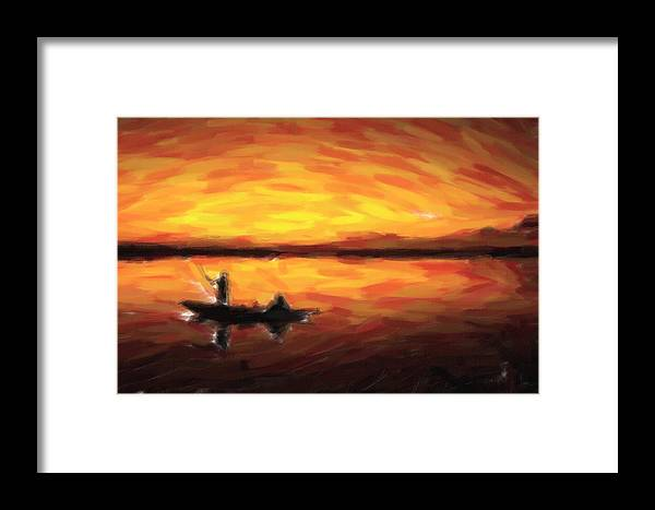 Adam Asar Framed Print featuring the painting Fishing At Golden Hours by Adam Asar