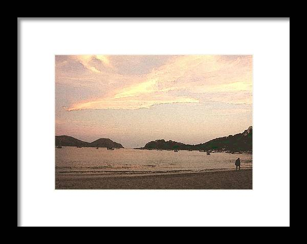 Bay Framed Print featuring the mixed media Fishing Bay At Sunset by James Johnstone