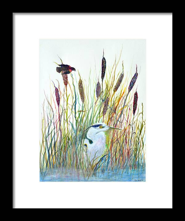 Fishing Framed Print featuring the painting Fishing Blue Heron by Ben Kiger