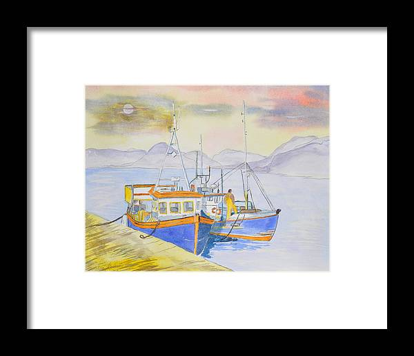Boat Framed Print featuring the painting Fishing Boat At Dock by Jonathan Galente