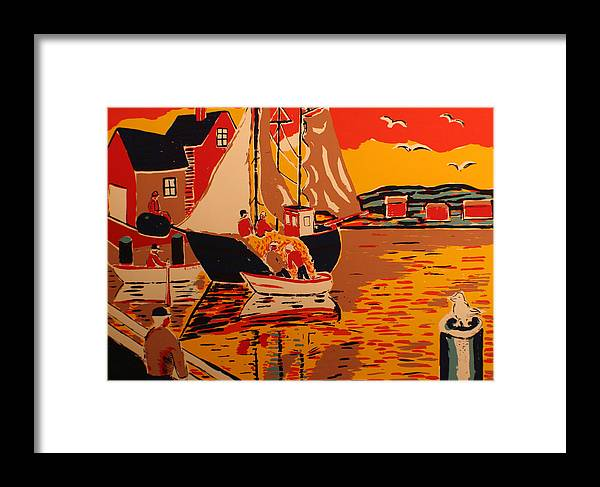 Framed Print featuring the painting Fishing Boat by Biagio Civale