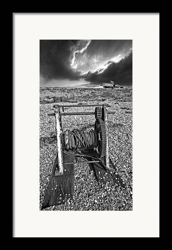 Winch Framed Print featuring the photograph Fishing Boat Graveyard 8 by Meirion Matthias